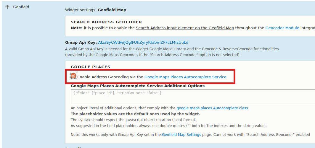 enable Address Geocoding of geofield